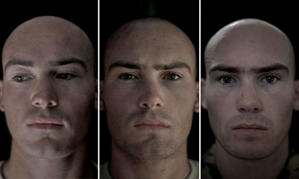 Close-up Photographs Of Soldier's Face Before And After A War